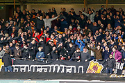 Motherwell fans celebrate following the opening goal during the Ladbrokes Scottish Premiership match between Motherwell and Heart of Midlothian at Fir Park, Motherwell, Scotland on 17 February 2019.