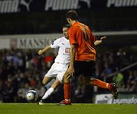 Photo: Chris Ratcliffe.<br /> Tottenham Hotspur v Slavia Prague. UEFA Cup. 28/09/2006.<br /> Robbie Keane of Spurs scores his goal past the effort of Martin Latka of Prague.