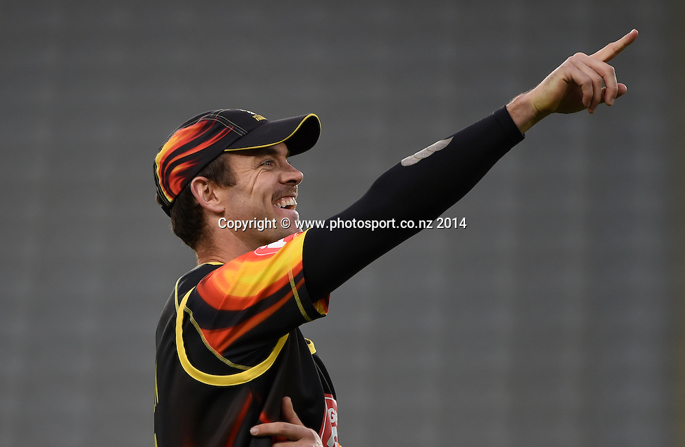 James Franklin during the Georgie Pie Super Smash Twenty20 cricket match between the Auckland Aces and Wellington Firebirds at Eden Park, Auckland on Friday 14 November 2014. Photo: Andrew Cornaga / www.Photosport.co.nz