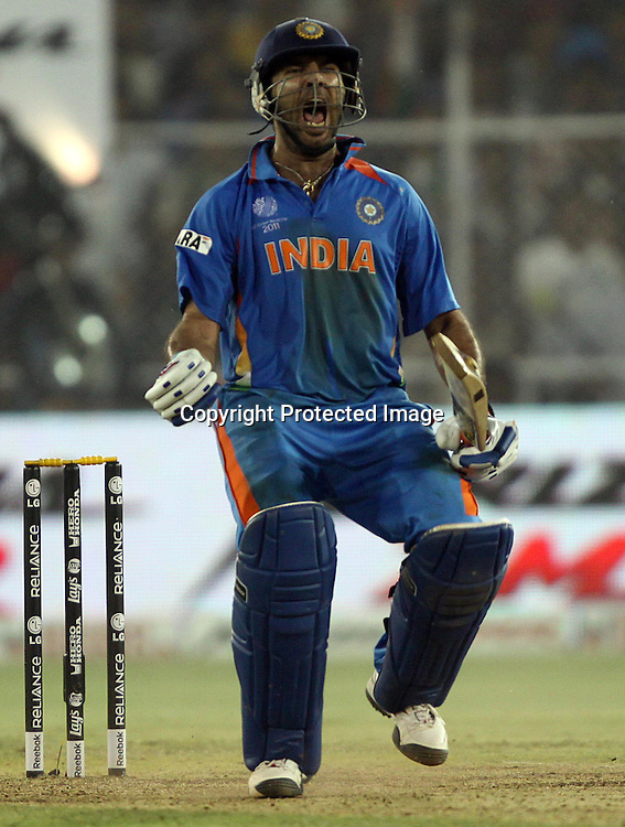 Indian batsman Yuvraj Singh celebrates After won the match against Australia during the 2nd Quarter-Final match India v Australia Played at Sardar Patel Stadium, Motera, Ahmedabad 24 March 2011 - day/night (50-over match)
