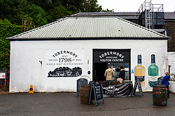View of Tobermory Distillery visitor centre at Tobermory harbour on Mull, Argyll & Bute, Scotland, UK