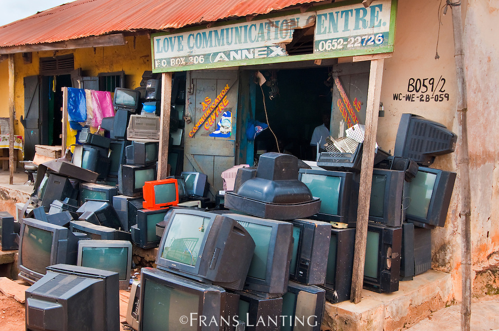 TVs outside shop, Ghana