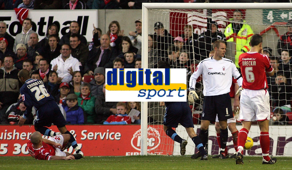 Photo: Paul Thomas.<br /> Nottingham Forest v Leyton Orient. Coca Cola League 1. 16/12/2006.<br /> <br /> Adam Chambers (26) scores Orient's second goal for the match.