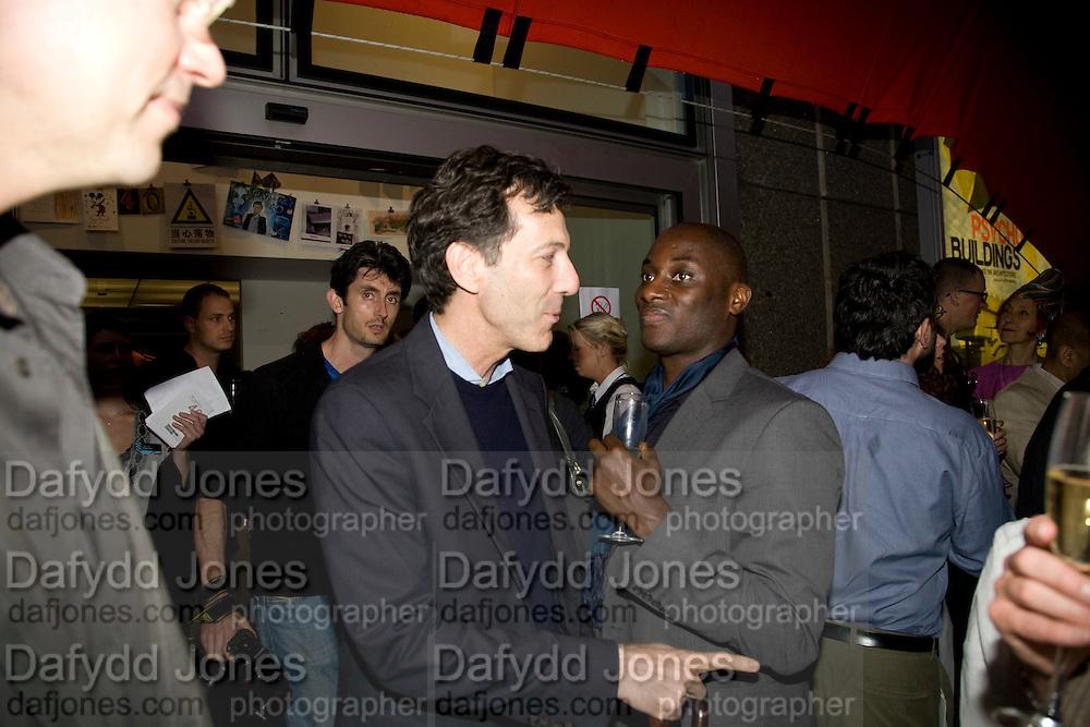 RALPH RUGOFF; EKO ESHUN, The Hayward Gallery 40th birthday Gala. hayward Gallery. South Bank. 9 July 2008 *** Local Caption *** -DO NOT ARCHIVE-© Copyright Photograph by Dafydd Jones. 248 Clapham Rd. London SW9 0PZ. Tel 0207 820 0771. www.dafjones.com.