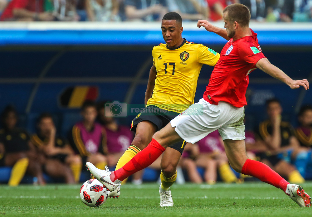 July 14, 2018 - Saint Petersburg, Russia - Youri Tielemans (L) of the Belgium national football team vie for the ball during the 2018 FIFA World Cup Russia 3rd Place Playoff match between Belgium and England at Saint Petersburg Stadium on July 14, 2018 in St. Petersburg, Russia. (Credit Image: © Igor Russak/NurPhoto via ZUMA Press)