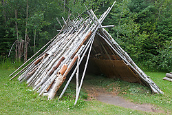 A-frame shelter with birch bark panelling, Grand Portage National Monument, Grand Portage, Minnesota, United States of America