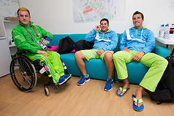 Henrik Plank, Darko Kojadinovic and Sebastjan Grosek of Slovenia in Paralympic village during Day 2 of the Summer Paralympic Games London 2012 on August 29, 2012, in Pralympic village, London, Great Britain. (Photo by Vid Ponikvar / Sportida.com)