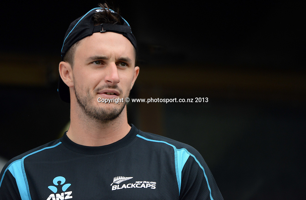 Hamish Rutherford looks out from the dressing room on Day 2 of the 2nd cricket test match of the ANZ Test Series. New Zealand Black Caps v West Indies at The Basin Reserve in Wellington. Thursday 12 December 2013. Mandatory Photo Credit: Andrew Cornaga www.Photosport.co.nz