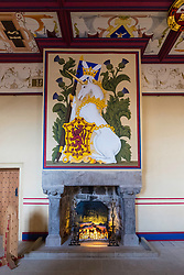Fireplace at King's Bedchamber in Royal Palace at Stirling Castle in Stirling, Scotland, United Kingdom.