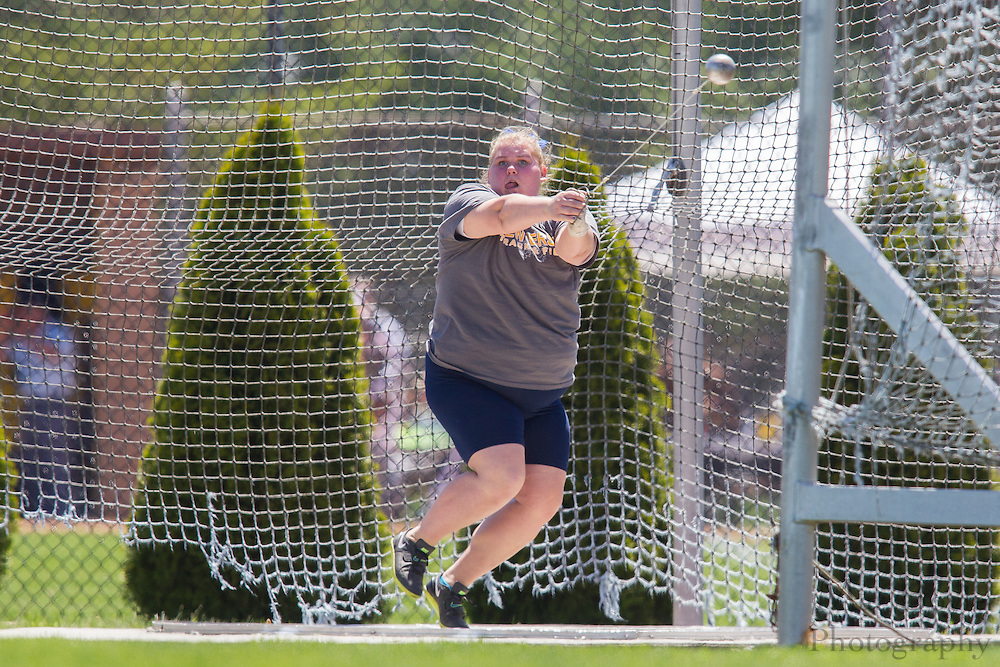 The College of New Jersey's Allison Ruszczyk competes in the women's hammer throw at the NJAC Track and Field Championships at Richard Wacker Stadium on the campus of  Rowan University  in Glassboro, NJ on Saturday May 4, 2013. (photo / Mat Boyle)