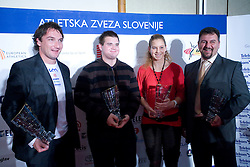 Primoz Kozmus, Tomaz Bogovic, Barbara Spiler and Vladimir Kevo at Best Slovenian athlete of the year ceremony, on November 15, 2008 in Hotel Lev, Ljubljana, Slovenia. (Photo by Vid Ponikvar / Sportida)