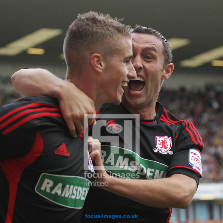 Picture by MIchael Sedgwick/Focus Images Ltd. 07900 363072.10/9/11.Joe Bennett of MIddlesborough celebrates with Scott McDonald after scoring against Burnley during the Npower Championship match at Turf Moor stadium, Burnley.