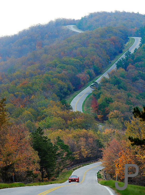 View along scenic Talimena Drive in Southeast Oklahoma.