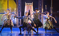 "© Licensed to London News Pictures. 07/12/2012. London, England. L-R: Mari Kamata as Ardor, Christopher Marney as Count Lilac, Kate Lyons as Hibernia and Sophia Hurdley as Feral. World premiere of Matthew Bourne's ""Sleeping Beauty"" at Sadler's Wells. Running from 4 December 2012 to 26 January 2013. Dancers of this section: Christopher Marney, Mari Kamata, Kate Lyons, Joe Walkling, Sophia Hurdley and Liam Mower. Photo credit: Bettina Strenske/LNP"