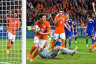 AMSTERDAM, Nederland - Kazachstan, voetbal, interland, oranje, kwalificatie EK 2016, 15-10-2014, Stadion de Arena, doelpunt van Nederland speler Klaas Jan Huntelaar (M) wordt afgekeurd.