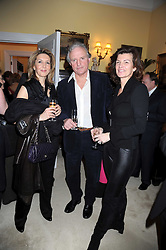 Left to right, DAPHNE RICHARDS, CHARLES ANSON and SOPHIE CHARBONEAU at a birthday party for Lady Meyer hosted by Richard & Basia Briggs at their home 25 Sloane Gardens, London SW1 on 28th January 2009.