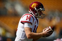BERKELEY, CA - SEPTEMBER 23:  Quarterback Sam Darnold #14 of the USC Trojans of the California Golden Bears warms up before the game against the California Golden Bears at California Memorial Stadium on September 23, 2017 in Berkeley, California. The USC Trojans defeated the California Golden Bears 30-20. (Photo by Jason O. Watson/Getty Images) *** Local Caption *** Sam Darnold