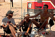 Men eating at Middle East Tek, Wadi Rum, Jordan, 2008