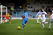 Peterborough Utd midfielder Siriki Dembélé (10) gets in a cross during the EFL Sky Bet League 1 match between Peterborough United and Rochdale at London Road, Peterborough, England on 12 January 2019.