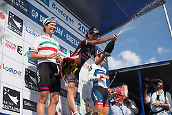 Eugenia Bujak (POL) of BTC City Ljubljsana Cycling Team (CENTRE) celebrates her win with Elena Cecchini (ITA) of CANYON//SRAM Racing (LEFT) and Joelle Numainville (CAN) of Cervélo-Bigla Cycling Team (RIGHT) on the podium after the 121.5 km road race of the UCI Women's World Tour's 2016 Grand Prix Plouay women's road cycling race on August 27, 2016 in Plouay, France. (Photo by Balint Hamvas/Velofocus)