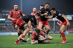 Matt Gallagher of Saracens tackles Jason Woodward of Gloucester Rugby - Mandatory by-line: Nizaam Jones/JMP - 22/02/2019 - RUGBY - Kingsholm - Gloucester, England- Gloucester Rugby v Saracens - Gallagher Premiership Rugby
