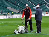 LONDON, ENGLAND - MARCH 17: Blue lines being painted over the white lines before the NatWest Six Nations Championship match between England and Ireland at Twickenham Stadium on March 17, 2018 in London, England. (Photo by Ashley Western - MB Media via Getty Images)
