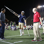 Paul Rabil #99 of the Boston Cannons greets the fans after being called up for an award following the game at Harvard Stadium on August 9, 2014 in Boston, Massachusetts. (Photo by Elan Kawesch)