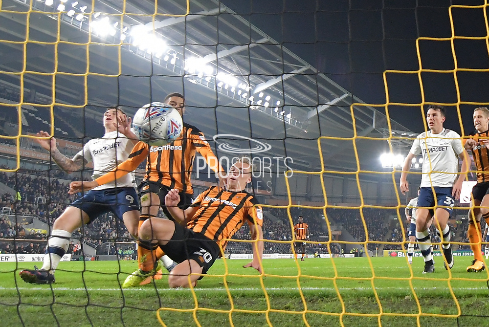 Hull City forward Jarrod Bowen (20) scores goal to go 1-1 during the EFL Sky Bet Championship match between Hull City and Preston North End at the KCOM Stadium, Kingston upon Hull, England on 26 September 2017. Photo by Ian Lyall.