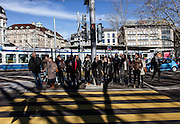 Switzerland, Zurich: zebra crossing in the center