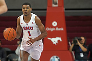 SMU Mustangs forward Feron Hunt (1) comes off the bench against Hartford Hawks to bring the ball down during an NCAA college basketball game, Wednesday, Nov. 27, 2019, in Dallas.SMU defeated Hartford 90-58. (Wayne Gooden/Image of Sport)