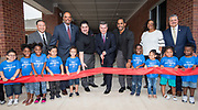 Harris County Department of Education Board of Trustees President Josh Flynn with trustees Richard Cantu and Danny Norris cut a ribbon during a dedication ceremony for the new Baytown Head Start and Early Head Start facility, May 23, 2019.