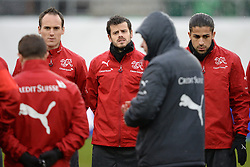 04.03.2014, AFG Arena, St. Gallen, SUI, Training der Schweizer Nationalmannschaft, vor dem Testspiel gegen Kroatien, im Bild Steve von Bergen, Tranquillo Barnetta, Ricardo Rodriguez (SUI) // during a practice session of swiss national football team prior to the international frindley against Croatia at the AFG Arena in St. Gallen, Switzerland on 2014/03/04. EXPA Pictures © 2014, PhotoCredit: EXPA/ Freshfocus/ Andy Mueller<br /> <br /> *****ATTENTION - for AUT, SLO, CRO, SRB, BIH, MAZ only*****