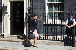 London, UK. 23 July, 2019. Caroline Nokes MP, Secretary of State for Immigration, leaves 10 Downing Street following the final Cabinet meeting of Theresa May's Premiership. The name of the new Conservative Party Leader, and so the new Prime Minister, is to be announced at a special event afterwards.