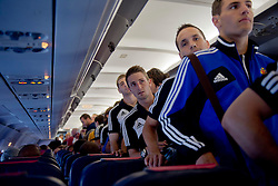 20.08.2013, Sofia, BUL, UEFA CL Play off, PFC Ludogorez Razgrad vs FC Basel, Ankunft FC Basel in Sofia, im Bild Gaston Sauro, Stephan Andrist, Philipp Degen und Fabian Schaer im Flugzeug Airbus A320 // during departure FC Basel to the UEFA Champions League Play off Match between PFC Ludogorez Razgrad vs FC Basel in Sofia, Bulgaria on 2013/08/20. EXPA Pictures © 2013, PhotoCredit: EXPA/ Freshfocus/ Andy Mueller<br /> <br /> ***** ATTENTION - for AUT, SLO, CRO, SRB, BIH only *****