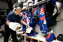 Milan Dragan in wardrobe prior to the ice-hockey match between Slovenia and Latvia of IIHF 2011 World Championship Slovakia, on May 5, 2011 in Orange Arena, Bratislava, Slovakia.  (Photo By Vid Ponikvar / Sportida.com)