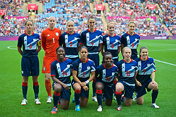 COVENTRY, ENGLAND - Friday, August 3, 2012: Great Britain players line-up for a team group photograph before the Women's Football Quarter-Final match between Great Britain and Canada, on Day 7 of the London 2012 Olympic Games at the Rioch Arena. Canada won 2-0. Back row L-R: Captain Casey Stoney, Goalkeeper Karen Bardsley, Stephanie Houghton, Jill Scott, Sophie Bradley, Ellen White. Front row L-R: Anita Asante, Alex Scott, Eniola Aluko, Kim Little, Karen Carney. (Photo by David Rawcliffe/Propaganda)