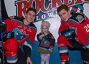 KELOWNA, CANADA - NOVEMBER 10:  Home Hardware Stick Girl with Nolan Foote #29 of the Kelowna Rockets and Cal Foote #25 of the Kelowna Rockets at the Kelowna Rockets game on November 10, 2017 at Prospera Place in Kelowna, British Columbia, Canada.  (Photo By Cindy Rogers/Nyasa Photography,  *** Local Caption ***