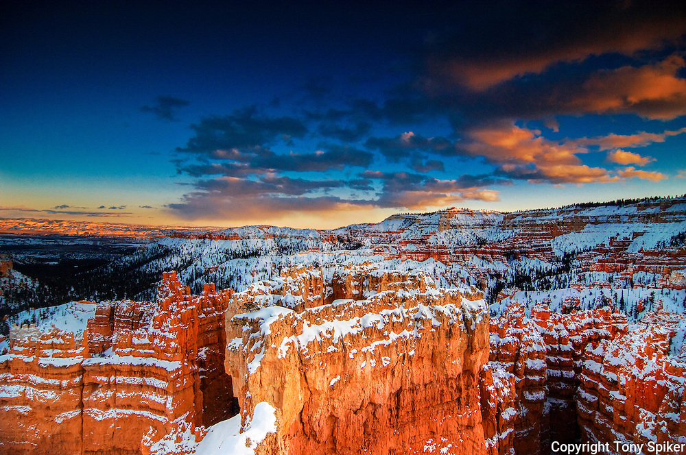 """Winter Sunset at Bryce Canyon"" - A photograph taken at sunset after a winter storm at Bryce Canyon"