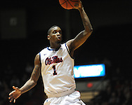 """Ole Miss' Terrance Henry (1) vs. Illinois State in a National Invitational Tournament game at the C.M. """"Tad"""" Smith Coliseum in Oxford, Miss. on Wednesday, March 14, 2012. (AP Photo/Oxford Eagle, Bruce Newman)"""