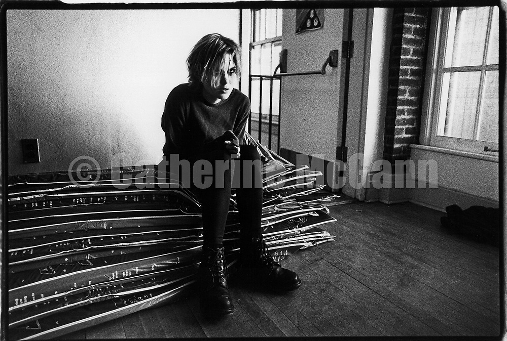 NEW YORK - 1995:  American singer songwriter Juliana Hatfield takes a break during a video shoot in 1995 in New York City, New York.  (Photo by Catherine McGann).Copyright 2010 Catherine McGann