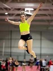 Harvard University<br /> Crimson Elite Indoor track & field meet<br /> women long jump, Asics, winner , asics,