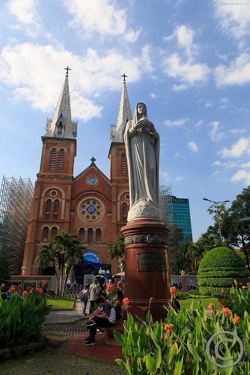 A statue of Mary outside the Notre-Dame Basilica of Saigon, Ho Chi Minh City, Vietnam
