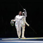 Fencing - Olympics: Day 1  Nathalie Moellhausen, Brazil, celebrates after defeating Lauren Rembi, France, during the Women's Épée Individual Quarterfinal at Carioca Arena 3 on August 6, 2016 in Rio de Janeiro, Brazil. (Photo by Tim Clayton/Corbis via Getty Images)