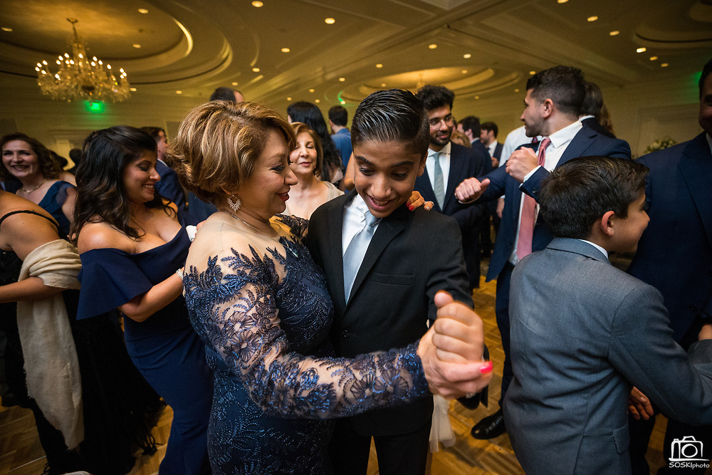 Bride and Groom celebrate their wedding with family and friends at the Ritz Carlton San Francisco in San Francisco, California, on April 21, 2018. (Stan Olszewski/SOSKIphoto)