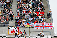 Fans in the grandstand and banners for the drivers.<br /> Japanese Grand Prix, Thursday 2nd October 2014. Suzuka, Japan.