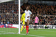 Tammy Abraham of England reacts after hitting the post during the U21 UEFA EURO first qualifying round match between England and Scotland at the Riverside Stadium, Middlesbrough, England on 6 October 2017. Photo by Paul Thompson.