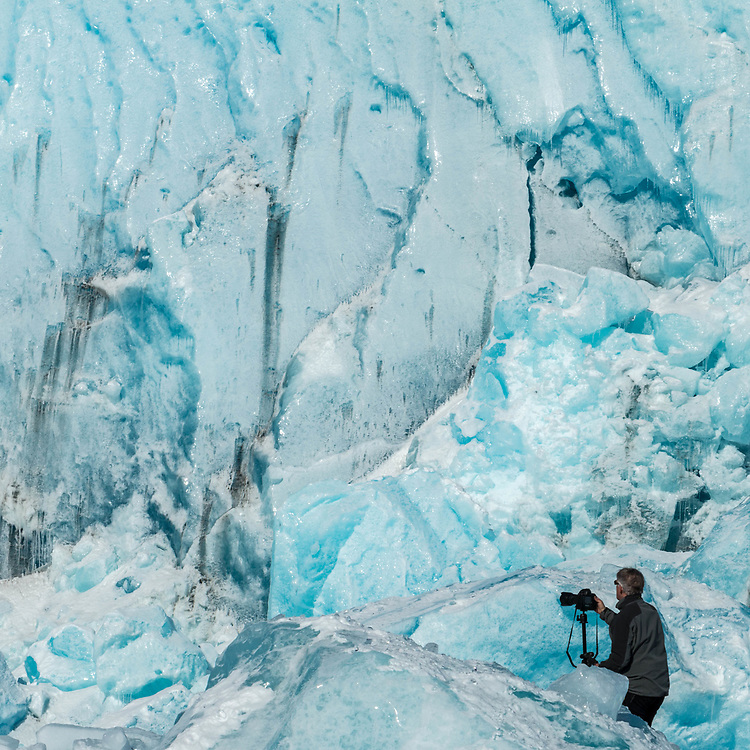 Photographer getting up close to the glacier. 3-21-2017
