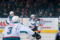 KELOWNA, CANADA - MARCH 21: Colten Martin #8 of Kelowna Rockets celebrates a first period goal against the Vancouver Giants on March 21, 2015 at Prospera Place in Kelowna, British Columbia, Canada.  (Photo by Marissa Baecker/Shoot the Breeze)  *** Local Caption *** Colten Martin;