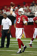 Arizona Cardinals quarterback Carson Palmer (3) throws a pre game pass before the 2014 NFL preseason football game against the Houston Texans on Saturday, Aug. 9, 2014 in Glendale, Ariz. The Cardinals won the game in a 32-0 shutout. ©Paul Anthony Spinelli