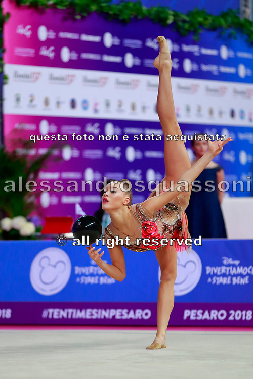 Gergalo Rebecca during the qualification of the ball at the Pesaro World Cup 2018.<br />